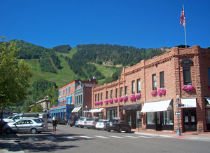 Medium downtown aspen  co  with view to ski slopes