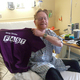 """A patient displaying the Passavant Hospital Foundation """"FAST"""" t-shirt"""
