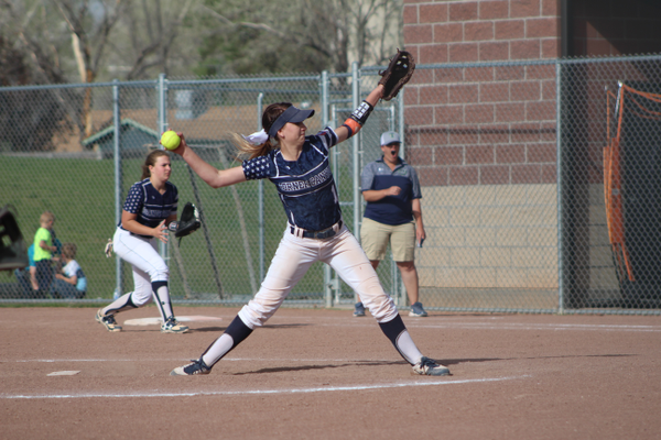 Junior Bailee Singleton unleashes a pitch against Timpanogos. (Travis Barton/City Journals)