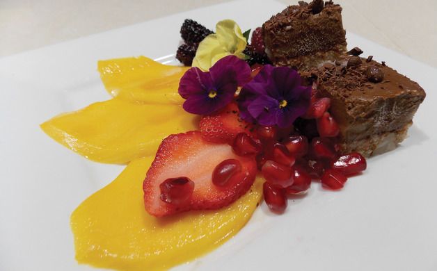Raw chocolate torte fruit  edible flowers 2