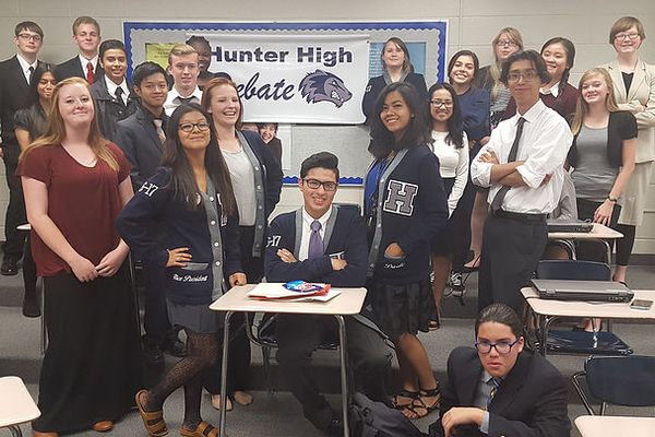 The Hunter High School debate team wrapped up its year with a banquet in April. (Hunter debate team)
