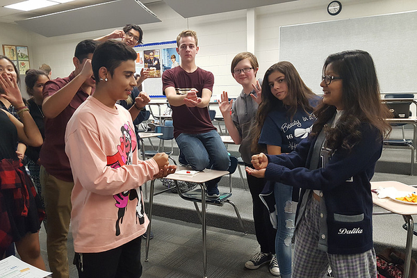 Members of the Hunter debate team play games during its opening social at the beginning of the year. (Hunter debate team)