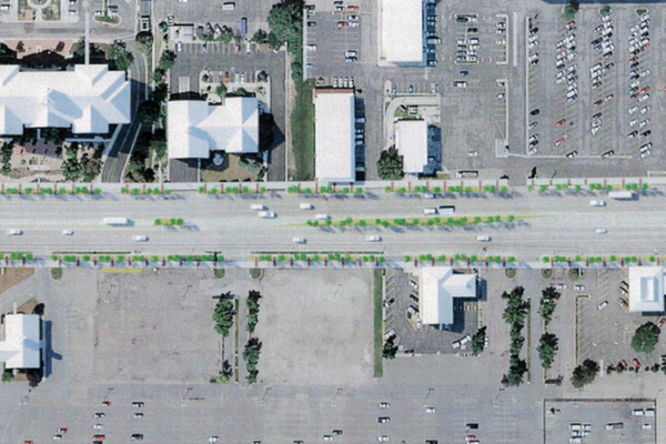 A rendering of what paving and planted medians could look like along Redwood Road commercial centers in West Jordan. (MGB+A and Fehr & Peers)