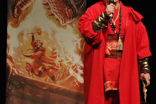"Author Brandon Mull dressed in costume at the launch party to introduce his new book series, ""Dragonwatch,"" which is a sequel series to his bestselling ""Fablehaven"" series. (Brandon Mull/Shadow Mountain)"