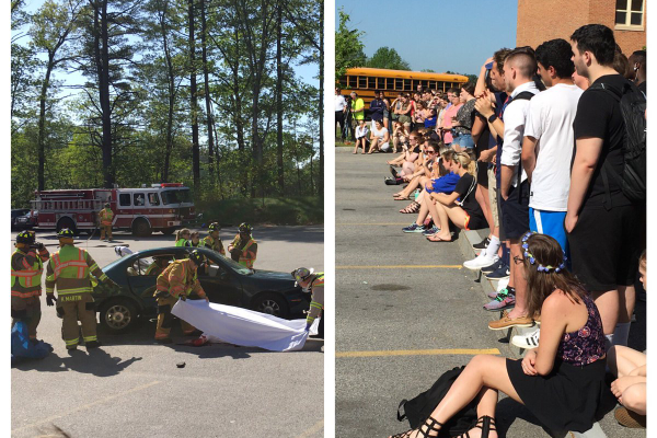 Dracut High students and firefighters act out a mock crash for classmates.