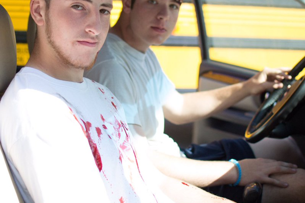 Some of the Dracut High students who acted out a mock crash for classmates.