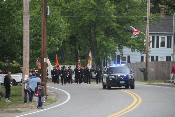 The Dracut Police Department leads the 2017 Memorial Day Parade (Photo by Kelley Anderson)