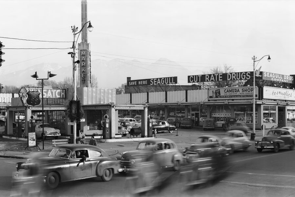 A look at Sugar House in the 1950s. This is the corner of 2100 South and 1100 East where Barnes & Noble now stands. (Used by Permission/Utah State Historical Society).