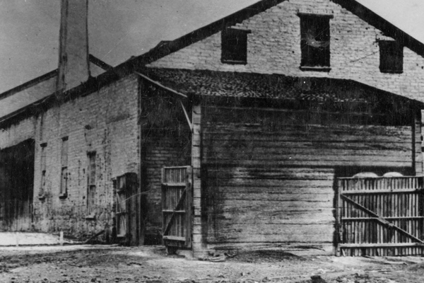 The sugar factory was built by Brigham Young and associates in 1853 and was located in the heart of Sugar House at 2100 South and 1100 East. (Used by Permission/Utah State Historical Society).
