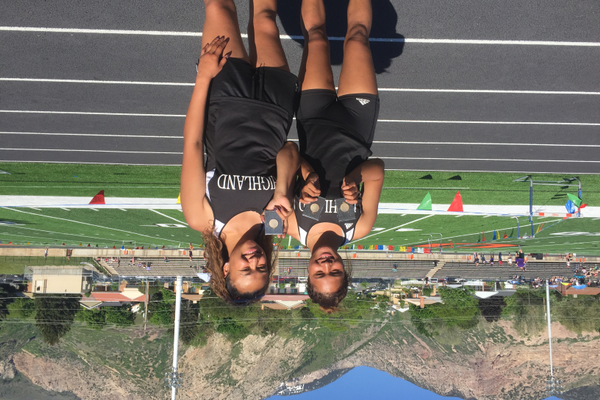 Lili Oafi-Noah and Sini Fifita pose together after they each qualified for state. (Swede Robinson/ Highland High