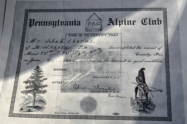 An Alpine Club certificate earned by Edwin Charles' father.  Photo by Bill Rozday