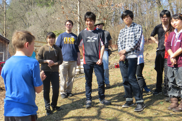 Rudy teaching about raising backyard chickens to a Japanese student group studying at Susquehanna University.