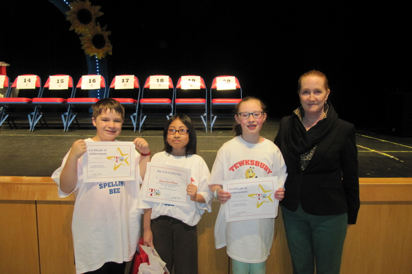 Seamus Dean (3rd place), Junissa Sophon (1st place), Kaylie Armstrong (2nd place) and Ryan School Principal McInnes