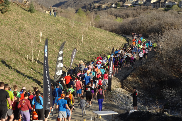 Runners leave from the starting line of a Wasatch Trail Run event. (Mitt Stewart/Wasatch Trail Run Series)