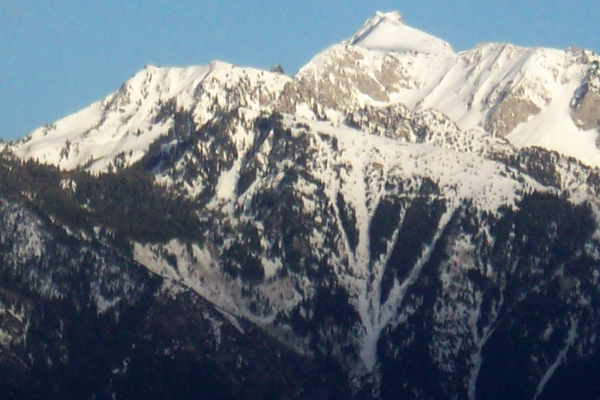 The Crow's Foot (center) features prominently on Lone Peak during the winter.