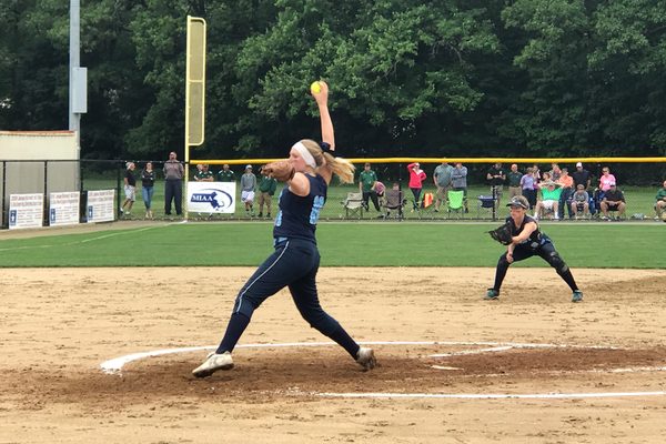 Dracut pitcher Ryley White fires a pitch in the State Final.