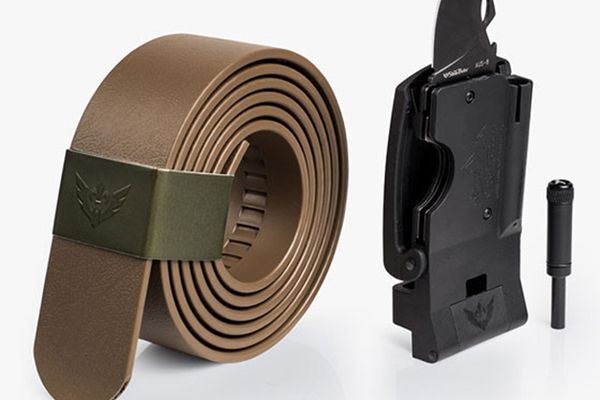 Survival Belt, $150 (features an integrated folding knife with bottle opener, LED flashlight, and a ferrocerium fire starter rod) at Slidebelts, based locally in El Dorado Hills, slidebelts.com