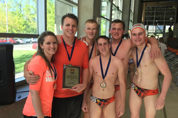 From left, coaches Kim and Adam Parkinson, and all-state players Jared Horton, Cooper Greene, Caden Davies and Gage Milligan. (Kim Parkinson)