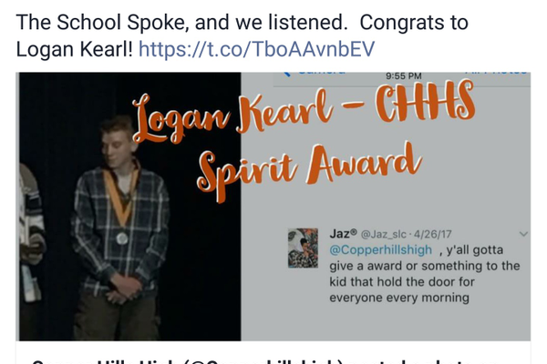 There was a campaign on Twitter to recognize Logan Kearl for his simple act of service. (Copper Hills High School)