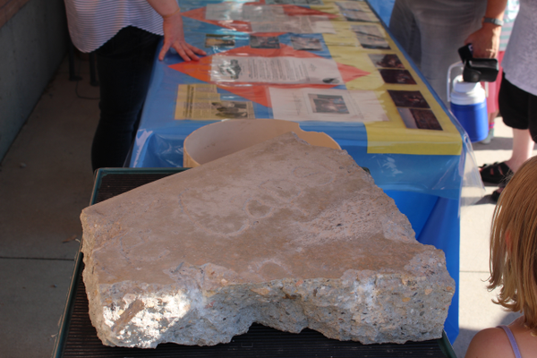 A chunk of concrete that was torn up to uncover the 25-year-old time capsule. (Travis Barton/City Journals)