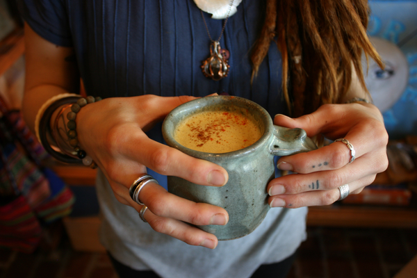 Chelsee Joel, co-owner of Among the Flowers Cafe on Sanibel, uses nut mylk and medicinal spices such as tumeric and black pepper in her chai lattes. Photo by Leah Biery.