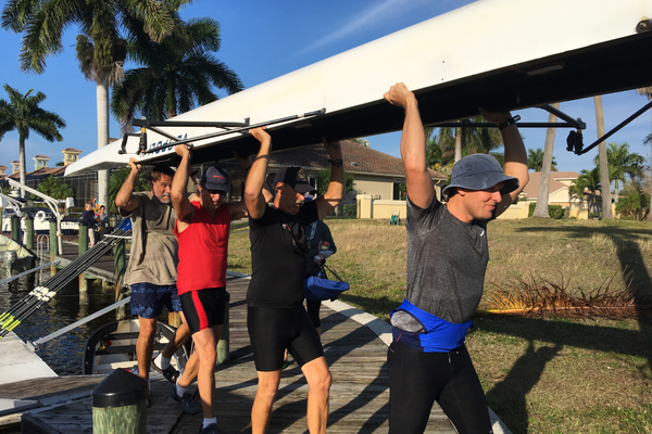 Rowing is physical and a supreme workout. The club's Cape Coral boatyard is in the Cape Harbour community, a quiet spot with stretches of mostly flat water. Although the rowers make it look easy, it isn't. Photo by Dayna Harpster.