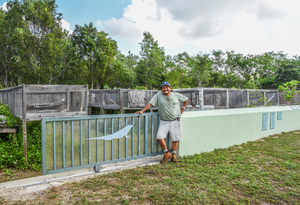Queen Elizabeth II Botanic Park warden Alberto Estevanovich has helped in restoring Grand Caymans blue iguana population Photo by Glenn V Ostle