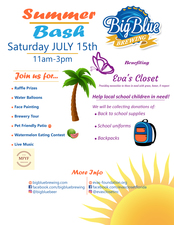 Summer Bash Fundraiser at Big Blue Brewing for Evas Closet - start Jul 15 2017 1100AM