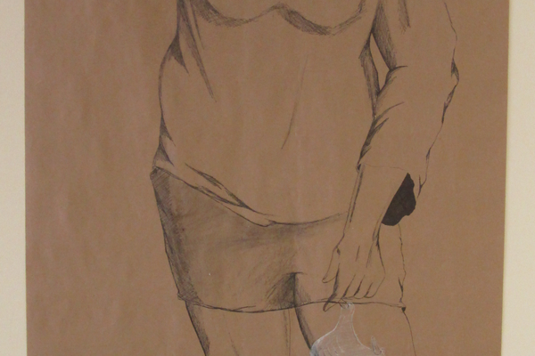 A self-portrait on a scroll of paper by Leah Maholmes.
