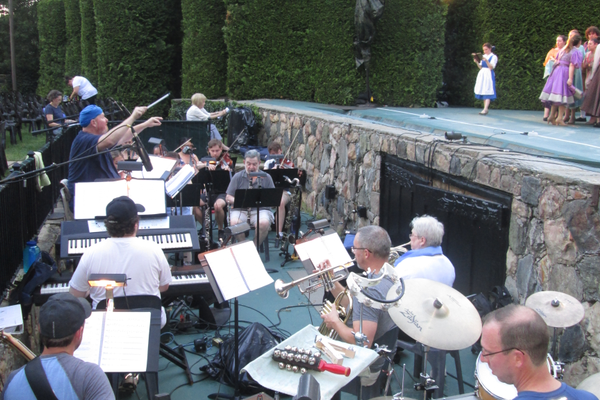 A live orchestra performs the show every night.