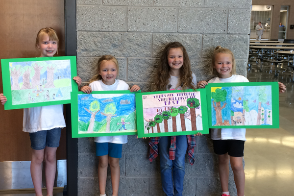 Liberty Elementary Arbor Day winners include Meredith Nelson, Liza Jorgensen, Ellie Ogden and Katelyn Jorgensen. (Roxanne Nelson/Liberty Elementary)