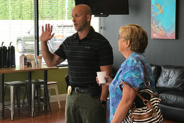 Residents had a chance to meet Dracut Police Chief Peter Bartlett and membrs of his department at the Recent Coffee With a Cop event at Frobie's Cafe.