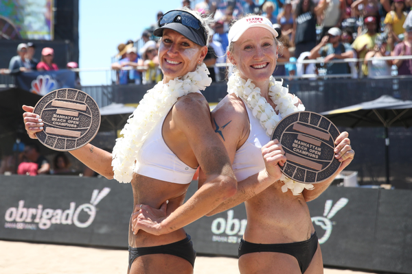 2017 AVP Manhattan Beach Open women's champs Brittany Hochevar and Emily Day. Photo credit: Mpu Dinani