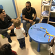 Dovydas Neverauskas and Sean Rodriguez were all smiles during their visit to Animal Friends' free-roam cat room.