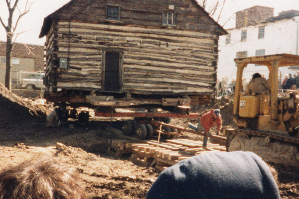 The Log House was moved to its current site in 1988. It was previously closer to Lancaster Avenue. (Photo from the Downingtown Area Historical Society)