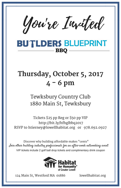Youre invited habitat hosts 2nd builders blueprint bbq fundraiser please join habitat for humanity of greater lowell as we host our second builders blueprint signature event on thursday october 5th 2017 400 pm at the malvernweather Images