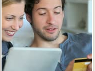 Young couple online shopping