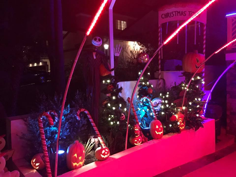 nightmare before christmas lights up palm ave - Nightmare Before Christmas Lights