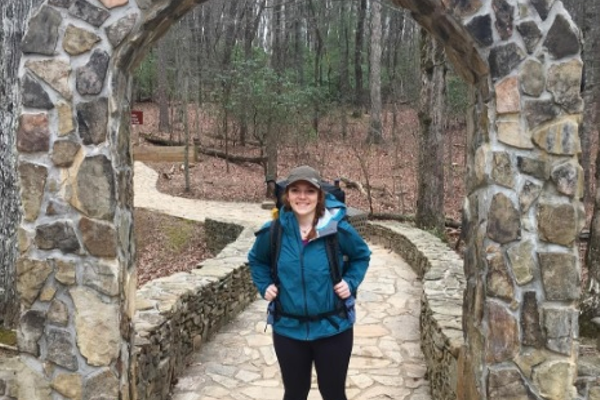 From Schmittle's trail diary: 'Here I am under the iconic Appalachian Trail archway at Amicalola State Park earlier this morning before taking the 8 mile uphill approach trail to the official southern terminus of the trail.'