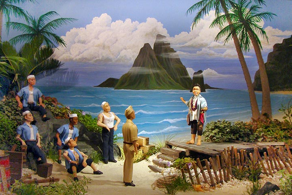 This diorama of a scene from 'South Pacific' won first place at the Philadelphia Flower Show.