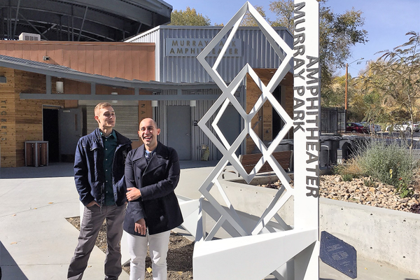 James Schultz (left) and Evangelos (right) crafted the Murray Park Amphitheater art piece. (Shaun Delliskave/City Journals)