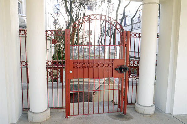 Ornate gates like these are built for custom homes, or for private owners.