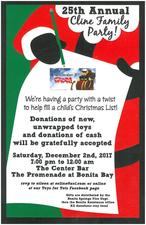 25th Annual Cline Family Toys for Tots Party - start Dec 02 2017 0700PM