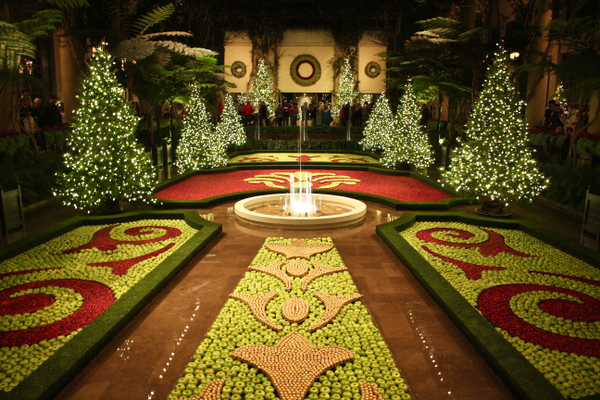 In the Exhibition Hall, an array of floating cranberries and apples are set in intricate, swirling botanical patterns, creating a carpet of color.