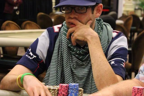 Jared Griener ponders his next move while playing in a poker tournament. Griener, raised in Sandy but now living in California, has earned over $1 million in poker tournaments.