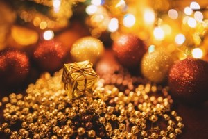 Medium abstract golden christmas gifts