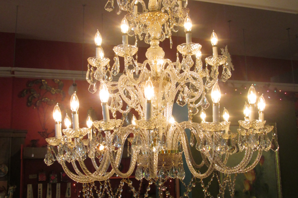 This chandelier was a bargain at the Habitat for Humanity Restore, and has become the Rigby's trademark.