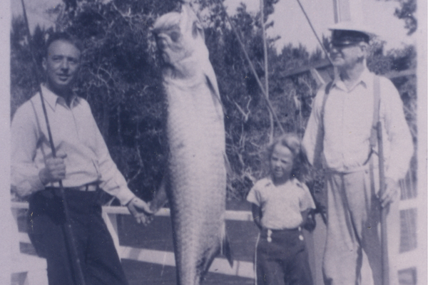 Buzz and Dorothy Price, and Capt. Stran, with a huge fish being hung. Photo courtesy of 'Tween Waters Inn.