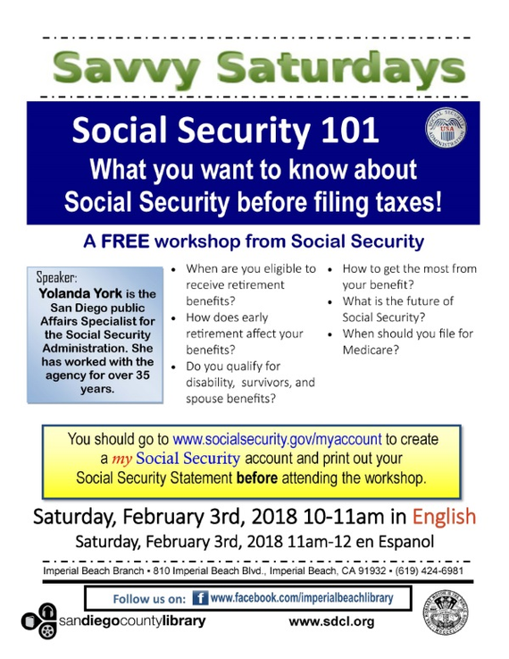 Free Social Security Workshop at Imperial Beach Branch Library