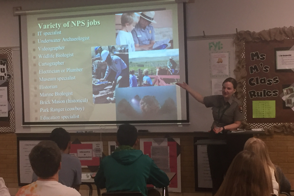 Timpanogos Cave National Monument Ranger Annie Brantley teaches Hillcrest High students about career options. (Julie Slama/City Journals)